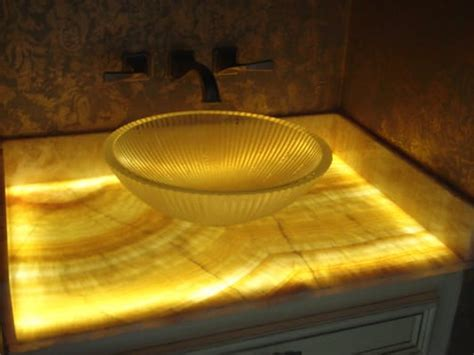 Led Countertop by 1 2 Bath Remodel With Onyx Countertop With Led Lighting