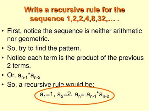pattern rule for 2 4 10 28 ppt 11 5 recursive rules for sequences powerpoint