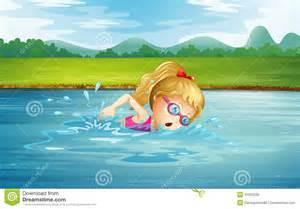frechen schwimmbad een meisje die bij de rivier zwemmen royalty vrije stock