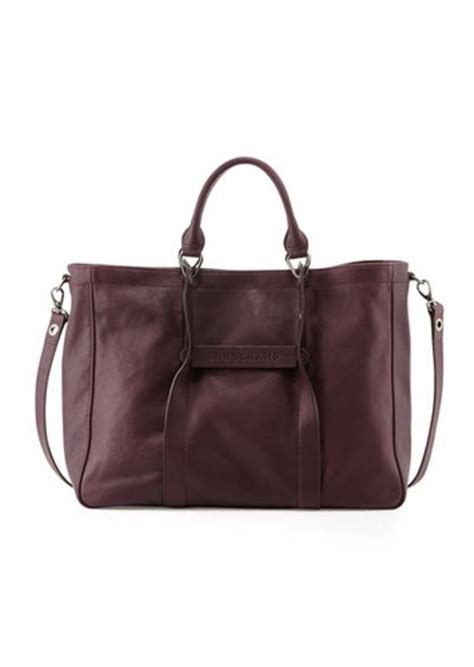 Totebag 3d Vintage longch longch 3d large leather tote bag bilberry