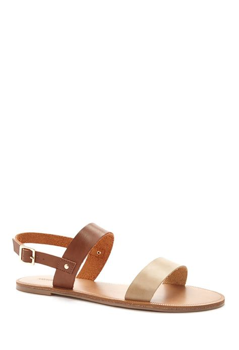 brown two sandals forever 21 two tone faux leather sandals in brown lyst
