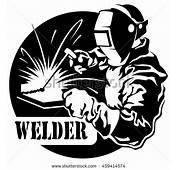 Welder Mask Connects Electric Welding Metal Stock Vector