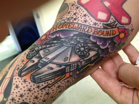 millennium falcon tattoo traditional millennium falcon wars by johnny