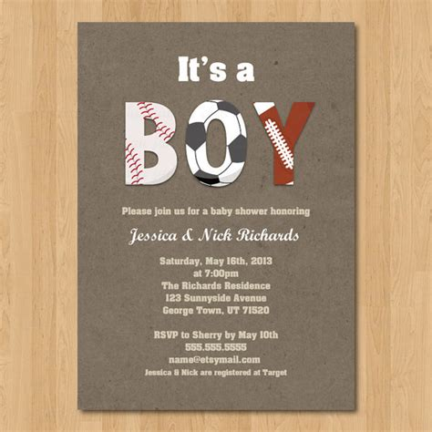 sports baby shower invitations templates sports boy baby shower invitation digital by janettechiudesign