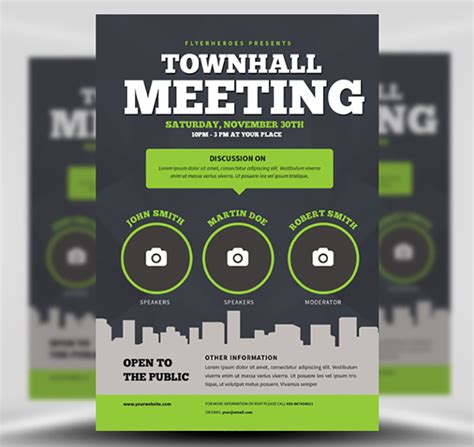 Community Meeting Flyer Template Flyerheroes Meeting Poster Template