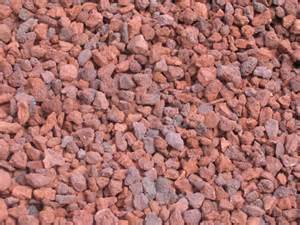 red landscaping rock