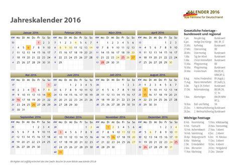 Jahreskalender Mit Kw Kalender 2016 Mit Feiertagen Ferien