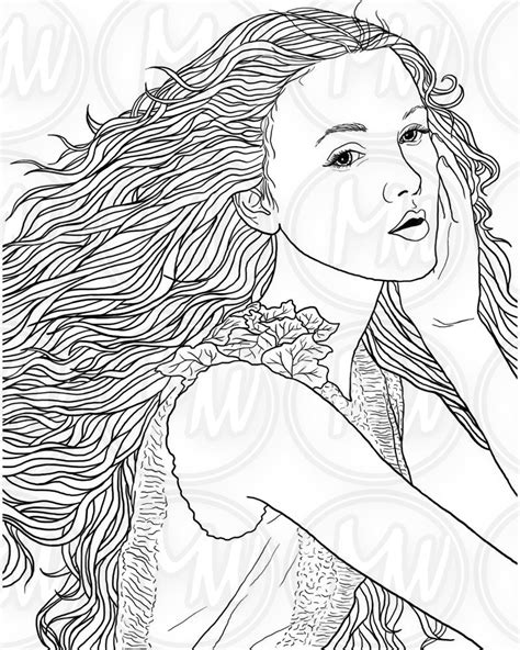 coloring pages of people s hair adult coloring page woman face long hair illustration