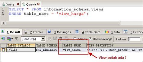 membuat query view membuat view di mysql mysql tutorial bahasa indonesia