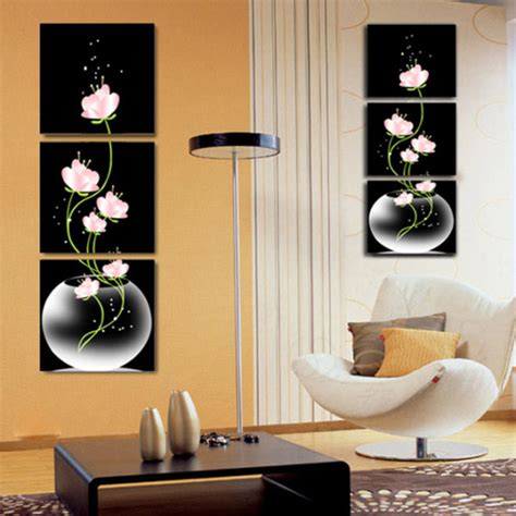 canvas home decor 3 panel free shipping sell beautiful pink flower modern wall painting home decor picture