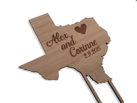 Wood Cake Topper state cake topper rustic wood personalized wedding cake