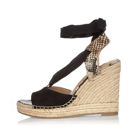 river island black suede lace up wedge sandals in black lyst