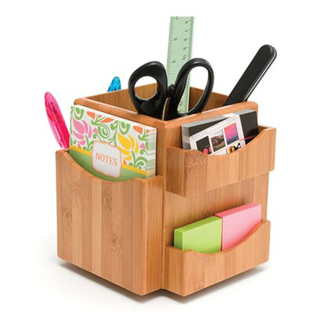 Desk Organizer by Bamboo Spinning Desk Organizer In Desktop Organizers