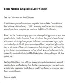 Board Member Resignation Letter Template by Sle Membership Resignation Letter 5 Exles In Pdf