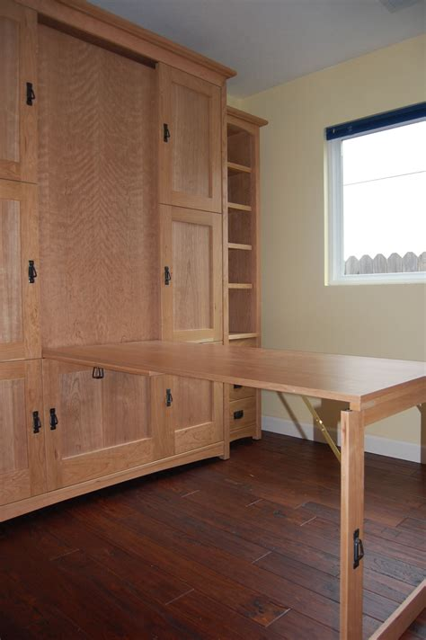 wallbed murphy bed with fold table or desk for home office that doubles