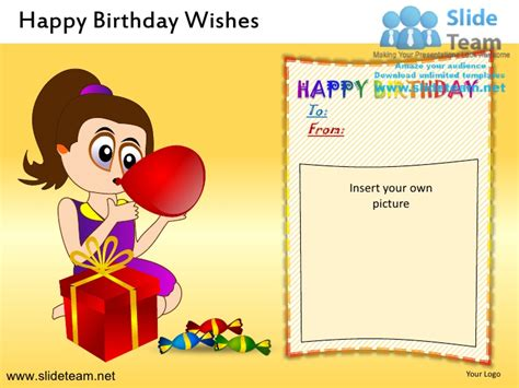 Add Photo In Birthday Cards For Free Happy Birthday Wishes Powerpoint Ppt Slides
