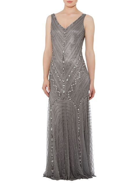 Shubette Fishtail Beaded Dress In Gray Pewter Lyst
