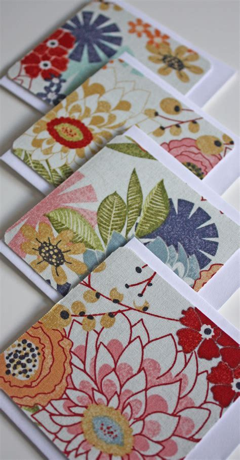Mini Greeting Card Set new mini fabric greeting card set 4 floral