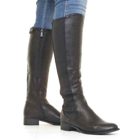 womens slim fit knee high chelsea boots with elastic panel