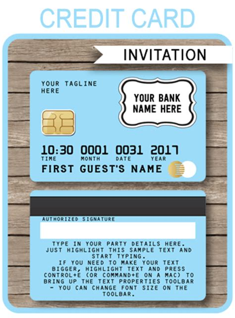 classroom credit card template printable light blue credit card invitations mall scavenger hunt