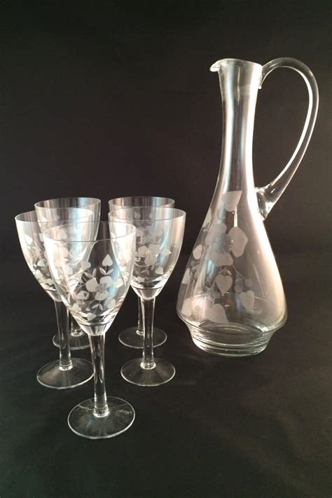 Matching Wine Glasses Sale Beautiful Glass Wine Decanter With 5 Matching Glasses