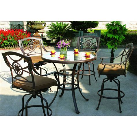 5 patio set shop darlee ten 5 antique bronze glass bar patio dining set at lowes