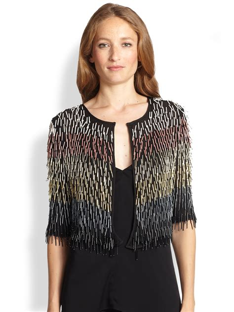 beaded bolero jackets milly beaded silk bolero jacket in black lyst