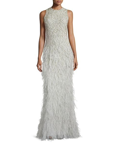 vaughn beaded feather skirt gown in gray