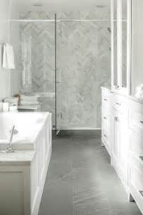 Gray Porcelain Tile Bathroom by White Porcelain Herringbone Tiles Design Ideas