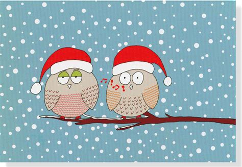 Gift Card Holiday - holiday whistling owls note cards