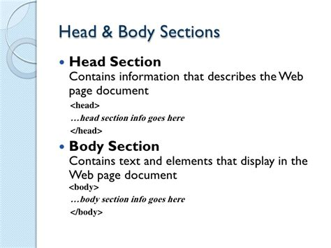 html head section 89 head and body section in html coding html the