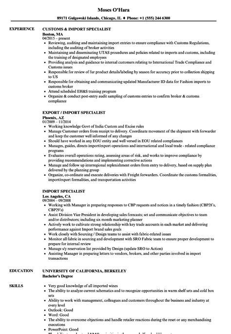 import specialist resume sles velvet