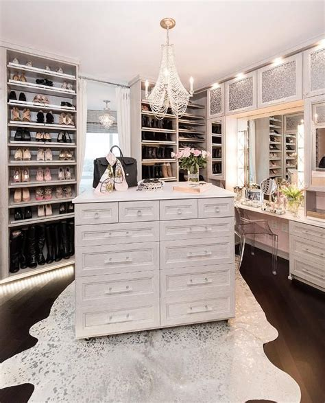 Glamorous Walk In Closets glamorous walk in closet features a white metallic cowhide