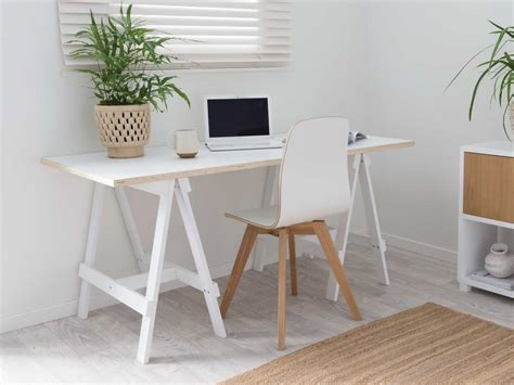 Mocka Trestle Desk Available In Black White Natural Trestle Desk White