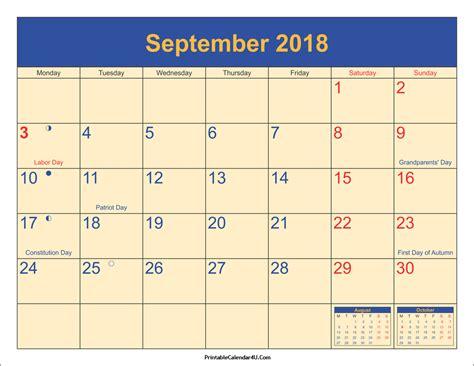 printable calendar september 2018 september 2018 calendar printable with holidays pdf and jpg