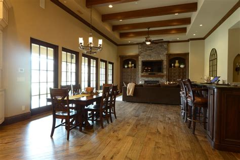 great room flooring distressed hickory floors great room w bar