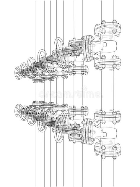 Sketch Of Industrial Equipment. Vector Stock Vector
