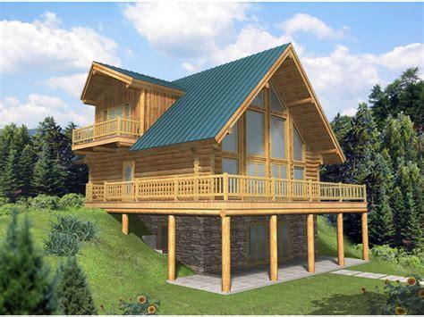Leola Raised A Frame Log Home Plan 088D 0046   House Plans