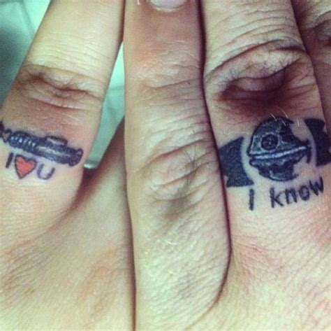 geeky couple tattoos wars i you i ring tattoos fanboy fashion