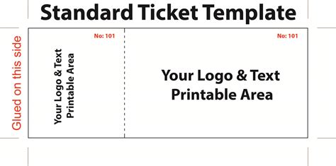 Standard Admission Ticket Template With Logo And Text Area Thogati Free Ticket Templates 8 Per Page
