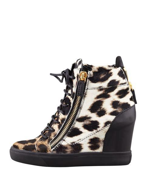 leopard wedge sneakers giuseppe zanotti leopard print calf hair wedge sneaker lyst