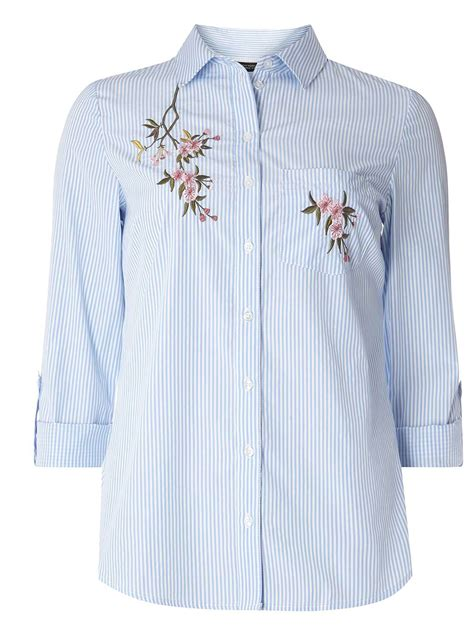 Embroidered Shirt blue floral embroidered shirt dorothy perkins