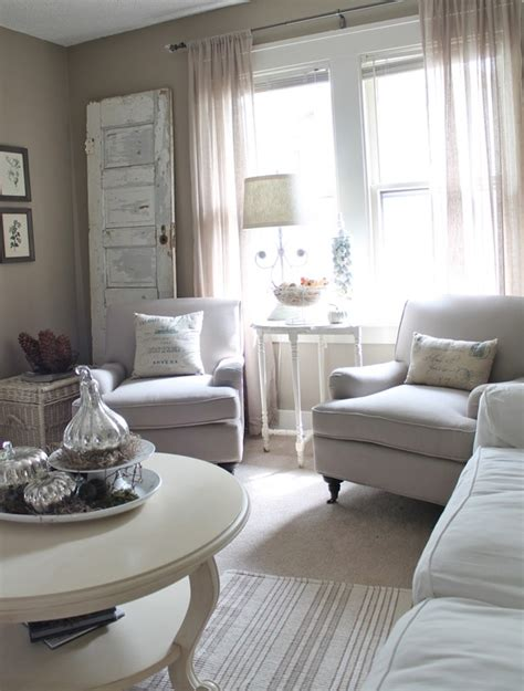 Vintage Inspired Neutral Living Room With Linen Club Chairs Neutral Living Room Furniture