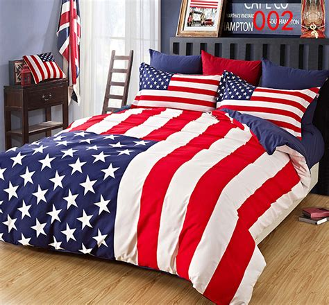 home stars stripes usa flag cotton 4pcs bedding sets
