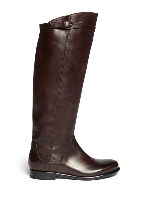 brown flat boots giorgio armani knee high flat boots in brown lyst