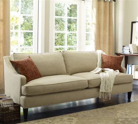 pottery barn settee landon upholstered sofa pottery barn