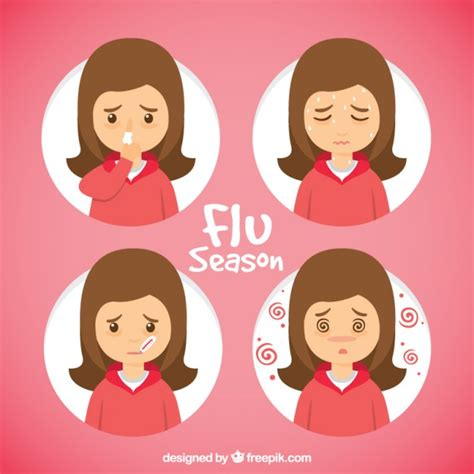 influenza con mal di testa mano ragazza disegnato con sintomi influenzali scaricare