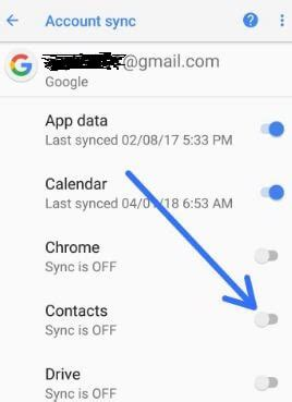 how to fix google contacts not syncing on android oreo