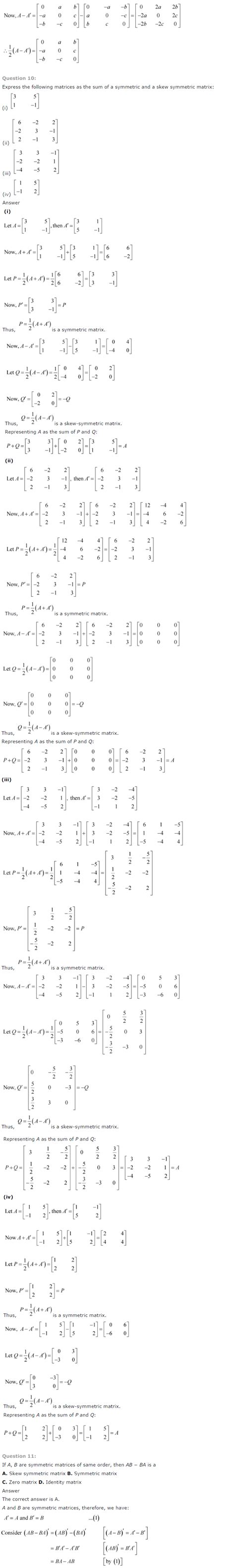email format ncert ncert solutions for class 12th maths chapter 3 matrices