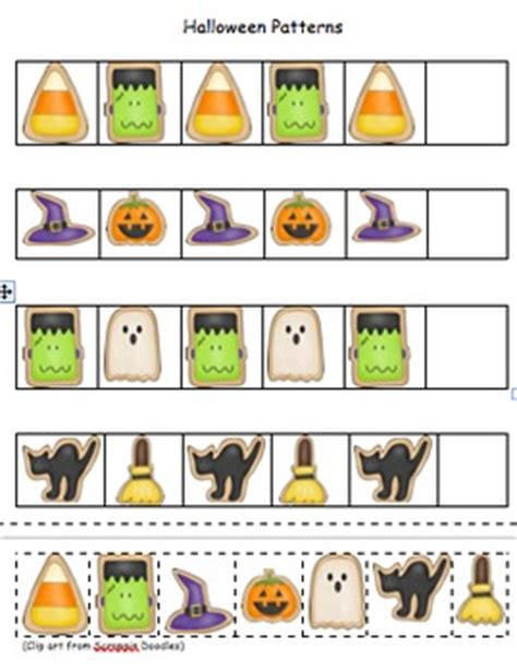 halloween pattern worksheets for kindergarten halloween patterns pocket chart set included by kudos 4